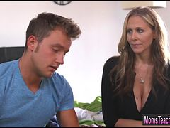 Stepmom Julia Ann helps stepson and gf with their sexproblem