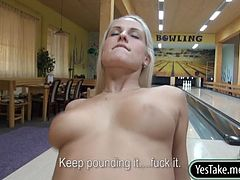 Hot blonde Eurobabe Blanche fucked at bowling alley for cash