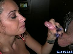 Gloryhole punk babe gives her inviting pussy to be fucked