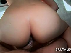 Sick pussy nailed from behind in the bus