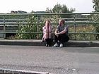 Blowjob in public by a highway. COOL!!
