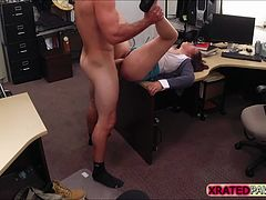Busty MILF babe Fucked inside the pawn shop office while she is selling her Collection