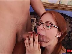 Penny Pax milks cum out of beefy cock by a deep throat