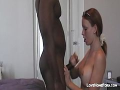 Black guy cum on her big fake tits