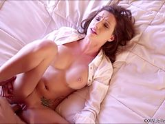 Perfect babe Mary Jane Johnson gets tight pussy fuck by a huge cock