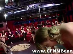 CFNM party babes get cum facial from stripper