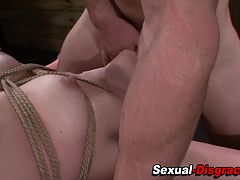 Throated bound sub pussy toyed