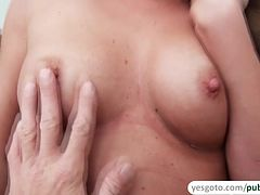 Angel Blade strokes a cock and gets fucked until she gets a messy facial