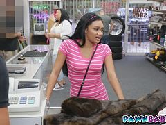 Pawn shop owner scores a cute latina teen in his own store!