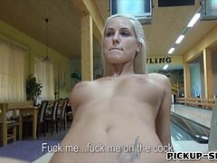 Eurobabe Blanche flashes her big tits and fucked for cash